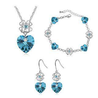 Ocean blue crystal with Swarovski Elements heart pendant necklace earrings bracelet jewelry set: Jewelry