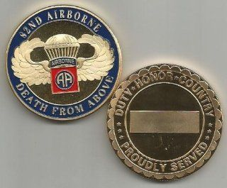 US Army 82nd Airborne DEATH FROM ABOVE Gold Plated Challenge Coin
