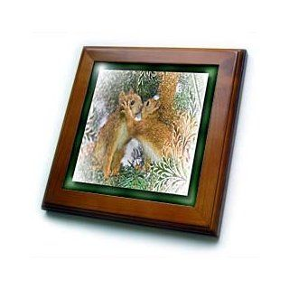 ft_28789_1 Susan Brown Designs Animal Themes   Kissing Squirrels   Framed Tiles   8x8 Framed Tile   Decorative Tiles