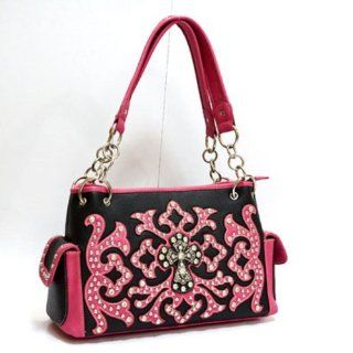 Fuchsia Pink Western Cross Rhinestone Studds Fashion Handbag Purse