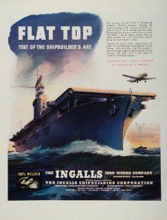 1943 Ad WWII Flat Top Aircraft Carrier Ship Ingalls WW2 Shipbuilding Wartime   Original Print Ad