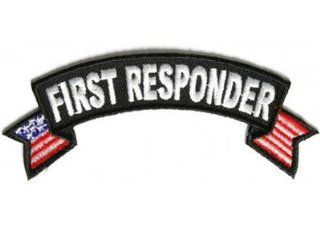 First Responder US Flags Small Rocker EMT Fire Police Vest Biker Patch PAT 2832: Everything Else