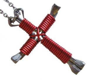 Disciples Cross Horseshoe Nail Pendant  Bright Red with 24 Inch Stainless Steel Chain: Disciples Cross: Jewelry