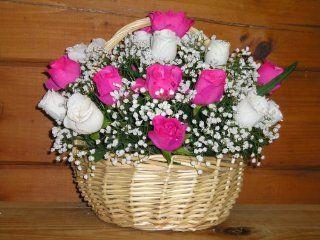 """Silk Floral Arrangement (12""""tall   12""""across   Round Basket)  Artificial Mixed Flower Arrangements"""
