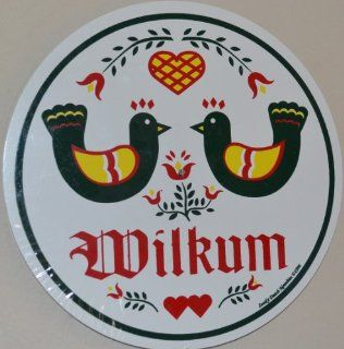 """23 1/2 Inch Diameter Double Wilkum """"Welcome Sign"""" Shows 2 Distelfinks (The Pa Dutch Good Luck Bird) Looking At Each Other (Adding Love & Understanding to the Sign) Plus 2 Birds, 1 Heart. They Are Sitting on Top of the Trinity Flowers Represen"""