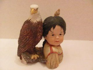 """Vintage   """"BRAVE AND FREE"""" Native American Indian FIGURINE with Bald Eagle by PERILLO (1988 / ARTAFFECTS LTD.)  Collectible Figurines"""