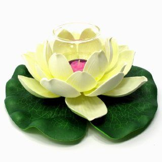 "Floating Lotus Flower with Glass Tealight Candle Holder, Small, Approximately 8"" Diameter x 3.5""H, Cream   Tea Light Holders"