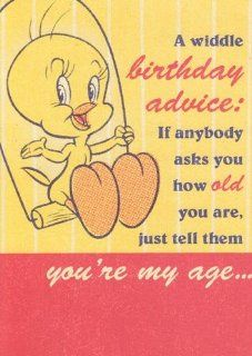 "Greeting Card Birthday Looney Tunes Tweety Bird ""Age Card, a Widdle Birthday Advice If Anybody Asks You How Old You Are"" Health & Personal Care"