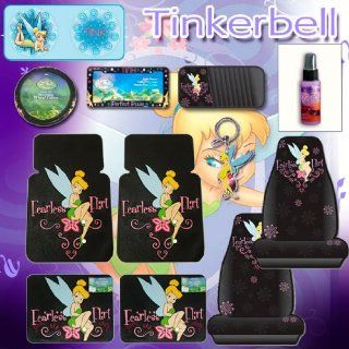 12 Pcs Tinkerbell Fearless Flirt Combo Front Rear Car Floor Mats, Seat Covers, Steering Wheel Covers, Large Sunshade, Cd Organizer, License Plate Frame, Key Chain and a Stylish 24 Pieces Capacity Cd Wallet Automotive