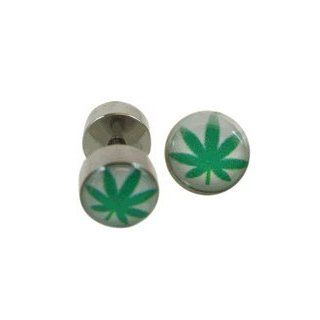 Green Leaf Faux Gauge   Green Leaf Metal Faux (Fake) Gauge Earrings Shoes