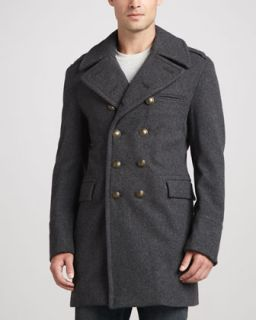 Burberry Brit Military Double Breasted Coat, Dark Gray