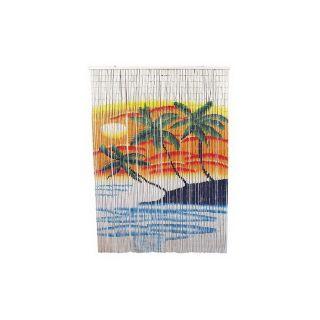 Bamboo 54 80 in L Orange/Blue Sheer Curtain