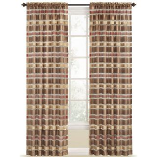 Style Selections Duran 84 in L Striped Brick Rod Pocket Window Curtain Panel