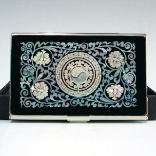 Mother of Pearl Yin Yang Symbol Design Black Business Card Holder Metal Stainless Steel Engraved Slim Money Wallet : Office Products