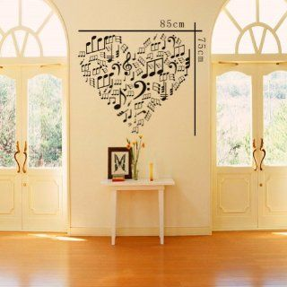 "23.6"" X 33.4"" Heart Contain Lots of Musical Note Wall Decor Wall Art Decal Sticker Decor Music Notes Mural DIY Vinyl Lettering Saying D�cor Room Home   Nursery Wall Decor"