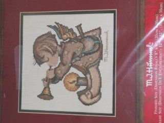 "Angel With HornBoy Blowing HornCounted Cross Stitch KitM. J. HummelFinished Size 8"" x 8""Kit contains Charted design for #14, 100% cotton Aida, Color Organizer with presorted 100% cotton floss, Needle, Instructions, Cross stitch booklet"