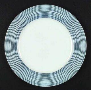Fitz & Floyd Les Bands Blue Dinner Plate, Fine China Dinnerware   Blue Stripes O