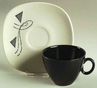 Edwin Knowles Flair Flat Cup & Saucer Set, Fine China Dinnerware   Triangles And