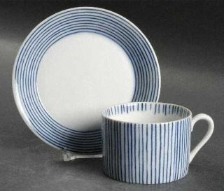 Fitz & Floyd Les Bands Blue Flat Cup & Saucer Set, Fine China Dinnerware   Blue