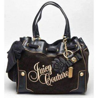Juicy Couture Velour Rose Flower Small Daydreamer Bag Purse Tote Black Top Handle Handbags Clothing