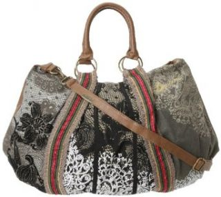 Desigual Handbags Bols C.O. Sac Puntilla Verde 30X5027 Hobo, Crema, One Size: Shoulder Handbags: Clothing