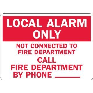 "SmartSign 3M Engineer Grade Reflective Sign, Legend ""Local Alarm Only Call Fire Department Phone _"", 7"" high x 10"" wide, Red on White: Industrial Warning Signs: Industrial & Scientific"