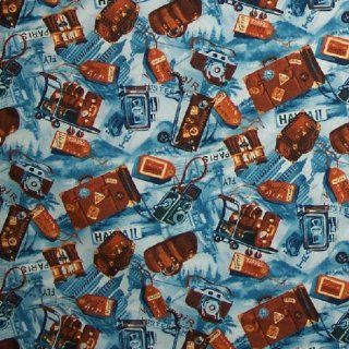 """44"""" Wide Fabric """"Traveling Accessories (Bags, Suitcases, Trunks, Tags, Cameras, Binoculars) and Words Hawaii, Paris, Etc Fabric By the Yard"""""""