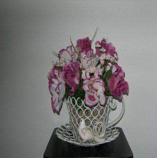 White/Mauve Rose Silk Floral Arrangement  Artificial Flowers