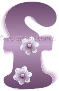 """""""f"""" Purple Daisy Flower Alphabet Letter Name Initial Wall Sticker   Decal Letters for Children's, Nursery & Baby's Room Decor, Baby Name Wall Letters, Girls Bedroom Wall Letter Decorations, Child's Names. Flowers Mural Walls Decal"""