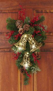 Collections Etc   Holiday Bells Evergreen Swag Door Decor By Collections Etc   Christmas Wreaths