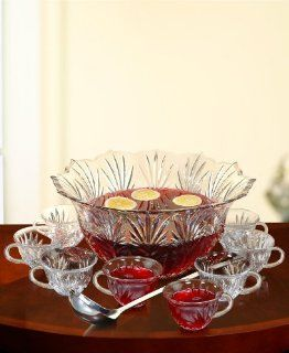 Fifth Avenue Crystal 10 Piece Punch Bowl Set Serving Bowls Kitchen & Dining