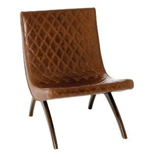 Danforth Mid Century Modern Chestnut Quilted Leather Chair   Dining Chairs