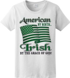WOMENS T SHIRT  LIGHT BLUE   LARGE   American By Birth Irish By The Grace Of God   Ireland Ethnic St Patricks Day Clothing