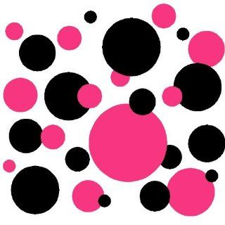 Set of 130 Dark Pink and Black Polka Dots Wall Graphic Vinyl Lettering Mural Decal Stickers Kit Peel and Stick Appliques   Decorative Wall Appliques