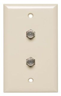 Allen Tel CT102FF 09 Plastic Flush Wall Plate with Single Gang, 2 Ports for Two F 81 Coax Connectors, Ivory