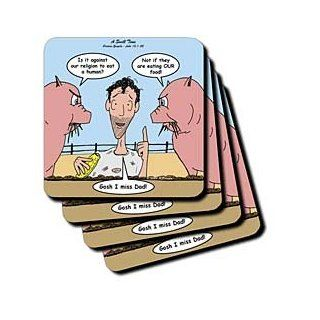 cst_44499_3 Rich Diesslins Funny Cartoon Gospel Cartoons   Luke 15 1 32   Having a Swill Time with the prodigal son and pigs   Coasters   set of 4 Ceramic Tile Coasters Kitchen & Dining