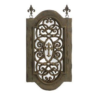 """39.5"""" Medieval Style Distressed Fleur de Lis Wall Mirror Decoration   Wall Mounted Mirrors"""