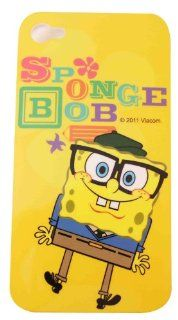 BUKIT CELL Nickelodeon TM SpongeBob SquarePants HARD BACK PIECE Faceplate Protector Case Cover (SpongeBob wearing glasses CS Clear Sides) for Apple iPhone 4S / 4G / 4 (Fits any carrier AT&T, VERIZON AND SPRINT) + Free WirelessGeeks247 Metallic Detachab