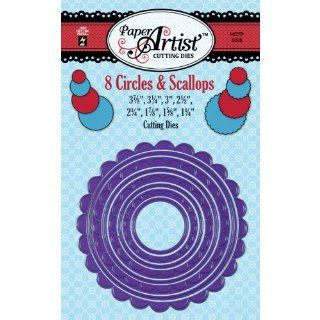 Hot Off The Press Paper Artist Cutting Die, 3.875 by 3.875 Inch, Circles and Scallops   Scrapbook Supplies