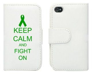 White Apple iPhone 5 5S 5LP221 Leather Wallet Case Cover Green Keep Calm and Fight On Cancer Awareness Ribbon: Cell Phones & Accessories