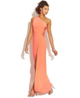 Betsy & Adam Petite One Shoulder Sequined Gown   Dresses   Women