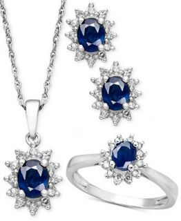 Sterling Silver Jewelry Set, Sapphire (1 1/2 ct. t.w.) and Diamond (1/3 ct. t.w.) Pendant, Earring, and Ring Set   Jewelry & Watches