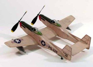 Dumas 206 F 82 Twin Mustang   Over 80 Laser Cut Parts.   Walnut Scale Wooden Model Airplane Toys & Games