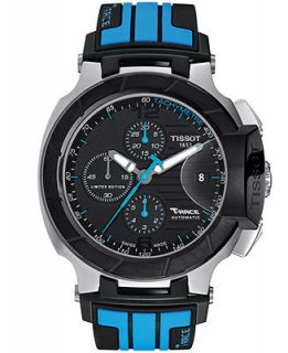 Tissot Mens Swiss Automatic Chronograph T Race Blue and Black Silicone Strap Watch 50mm T0484272705702   Moto GP Limited Edition 2013   Watches   Jewelry & Watches