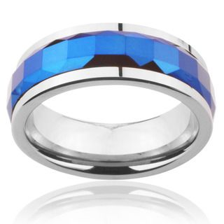 Tungsten Carbide Blue Multi faceted Square Cut Spinner Ring Men's Rings