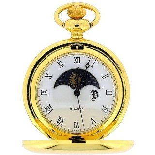 Boxx Gold Tone Sun and Moon Pocket Watch 12 Inch Chain BOXX192 at  Men's Watch store.