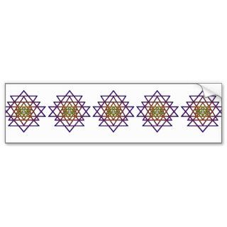 Triangle Mandala (yellow purple) Sri Yantra Bumper Sticker