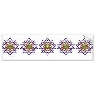Triangle Mandala (yellow purple) Sri Yantra Bumper Sticker