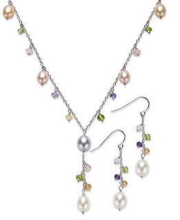 Honora Style Multicolor Cultured Freshwater Pearl (6 8mm) and Multistone Jewelry Set in Sterling Silver   Jewelry & Watches