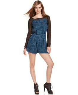 BCBGeneration Romper, Long Sleeve Boatneck Polka Dot Print   Shorts   Women